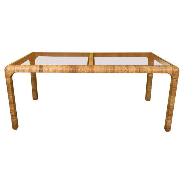 Rattan & Glass Console Table For Sale - Image 9 of 9