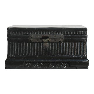 Chinese Vintage Black Lacquer Wood Rectangular Storage Box Chest For Sale
