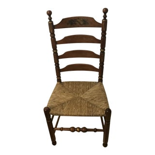 L. Hitchcock Ladder Back Harvest Rush Side Chair For Sale
