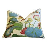 "Image of G P & J Baker Nympheus Floral Linen Feather/Down Pillow 26 X 20"" For Sale"