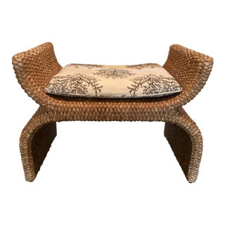 Boho Chic Baker Woven X Bench For Sale