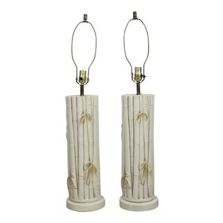 Faux Bamboo Plaster Table Lamps - a Pair For Sale