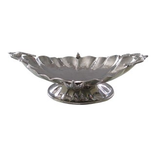 Vintage Scalloped and Silvered Centerpiece Bowl For Sale