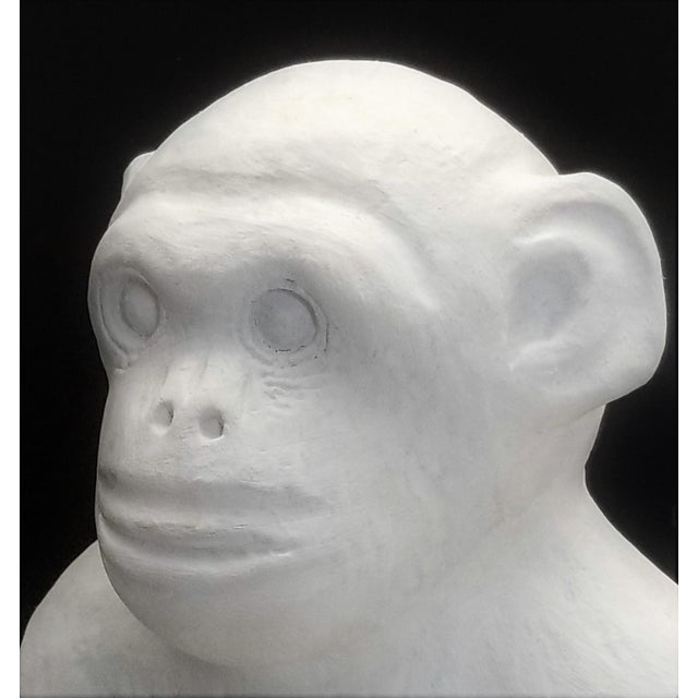 Vintage White Cement Monkey Sculpture Doorstop - Palm Beach Boho Chic Mid Century Modern Animal For Sale In Miami - Image 6 of 10