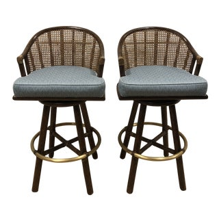1970s Vintage McGuire Mid-Century Swivel Barstools- A Pair For Sale