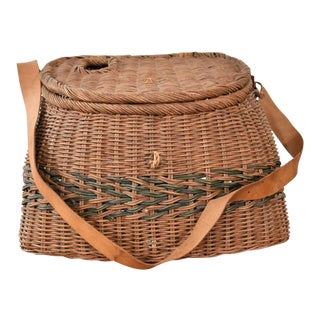 Antique Wicker Basket Fishing Creel With Leather Strap Handle For Sale