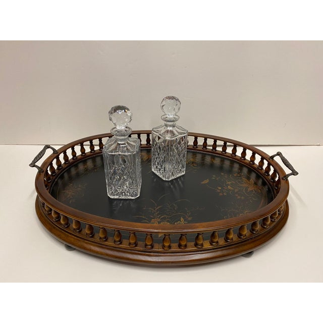 Mahogany Oval Gallery Tray For Sale - Image 10 of 12