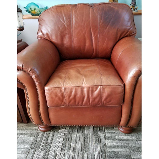 Mid-Century Modern Ralph Lauren Style Leather Cigar Club Chair Distress Firm Last Markdown For Sale - Image 3 of 6