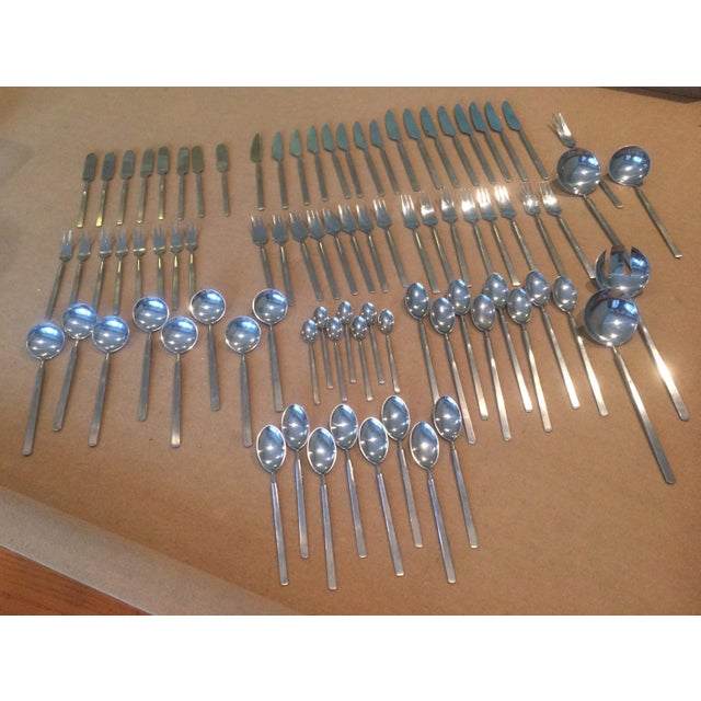 84 Piece Set Of Oblisk Stainless Cutlery From The 1950'S. This Is A Great Mid-Century Modern Addition To Any Dining Room....