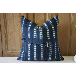 Contemporary Indigo Blue Batik Accent Pillows With Fringe Preview