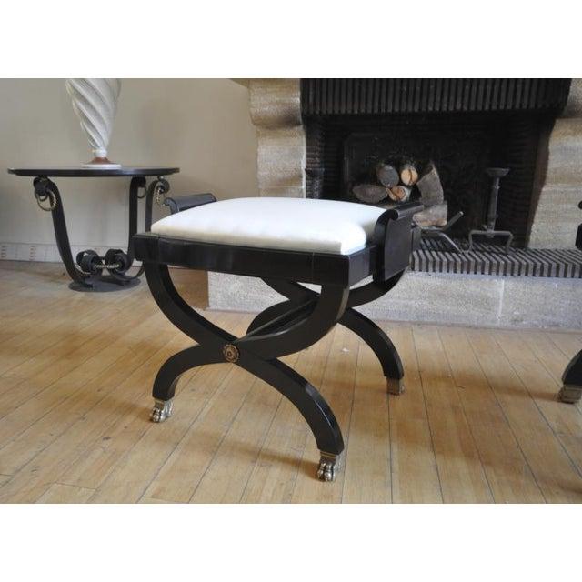Art Deco Maison Jansen Superb Pair of X Black Stool With Lion Legs For Sale - Image 3 of 7