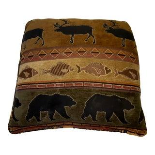 Vintage Rustic Lodge Elk Lake Bear Throw Pillow For Sale