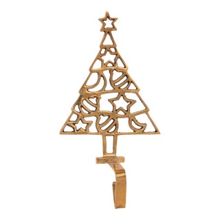 Solid Brass Christmas Tree Stocking Holder For Sale