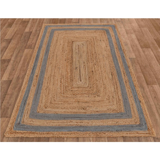 Not Yet Made - Made To Order 2'x3' Grey Border Rectangle Jute Handmade Rug For Sale - Image 5 of 11
