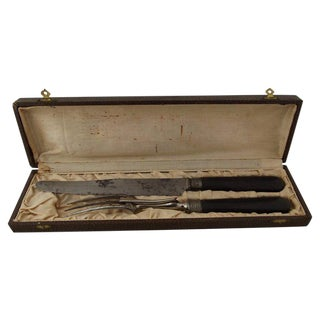 French Ebony Handled Carving Set, 2 Pieces For Sale