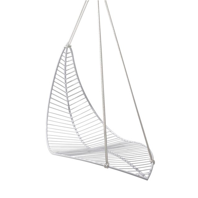 Metal Leaf Hanging Swing Chair - White For Sale - Image 7 of 7