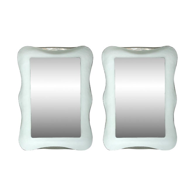 White Plaster Mirrors With Silver Gilt Side Trim- A Pair For Sale
