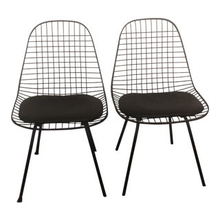 Charles Eames by Herman Miller Black Wire Chairs- A Pair For Sale