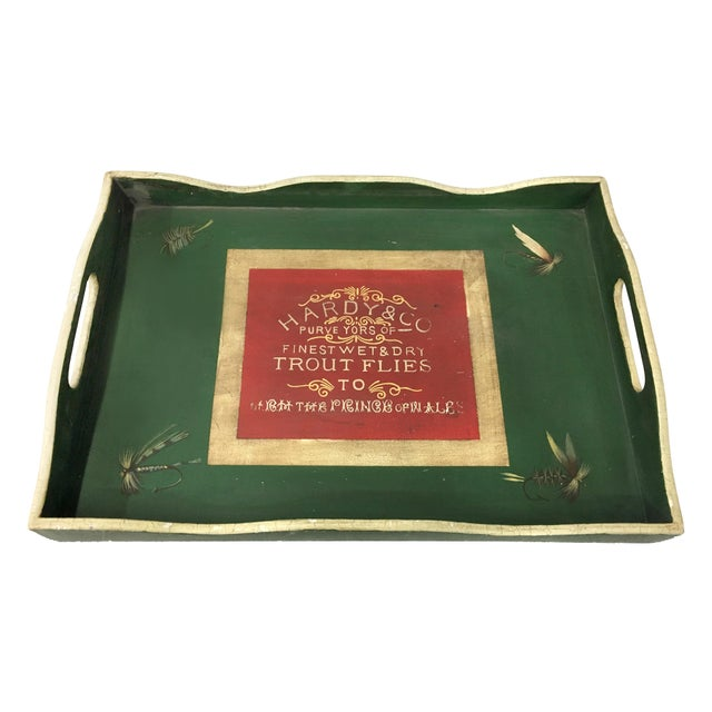 Green tray with red accent and design for Hardy & Co. Purve Yors of Finest wet & dry, Trout Flies to The Prince of Wales....