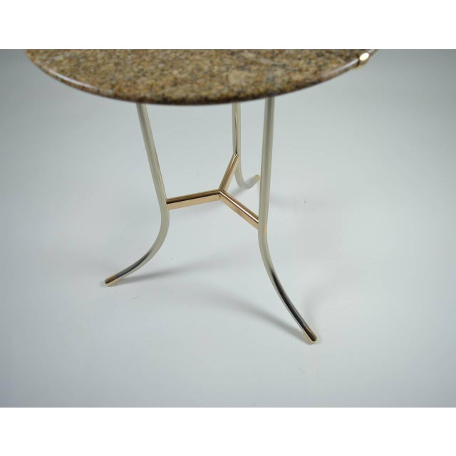 Cedric Hartman Side Table, Steel and Brass Base For Sale - Image 9 of 10