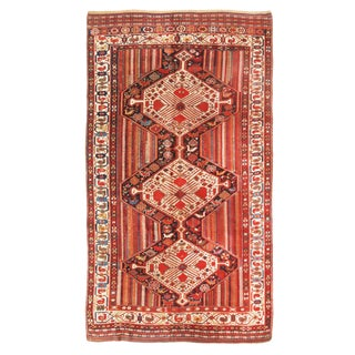 Antique Qashqai Persian Red and Beige Wool Rug - 5′1″ × 9′3″ For Sale
