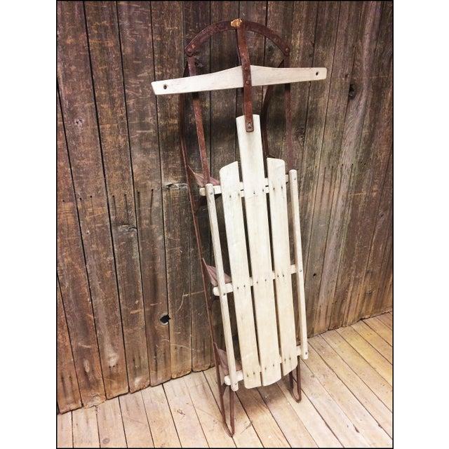 Vintage Brown Weathered Wood & Metal Runner Sled For Sale - Image 6 of 11