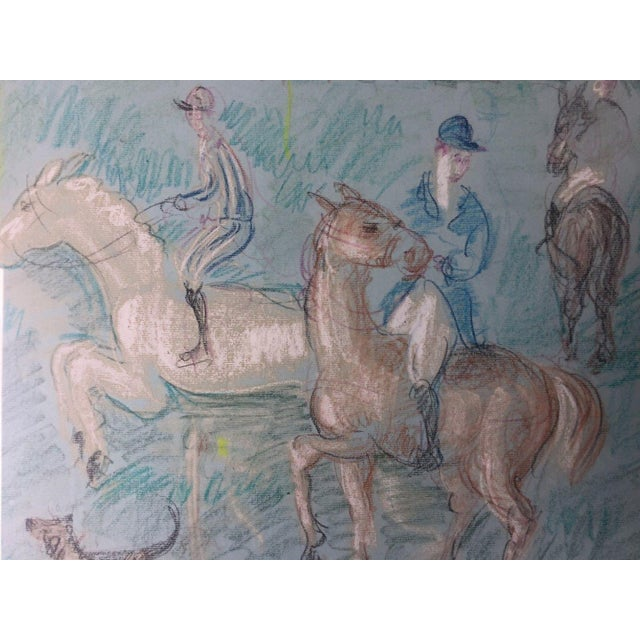 1950s Vintage French Hunting Scene Drawing For Sale - Image 4 of 9