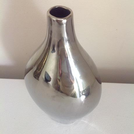 Silver Metallic Chrome Glazed Ceramic Vase & Decorative Bowl - A Pair For Sale - Image 8 of 9