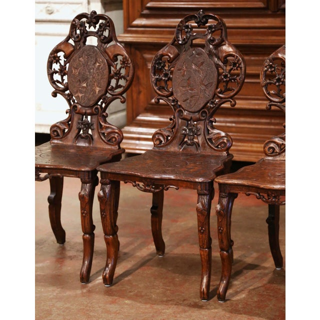 Set of Four 19th Century French Black Forest Carved Walnut Chairs For Sale - Image 4 of 13