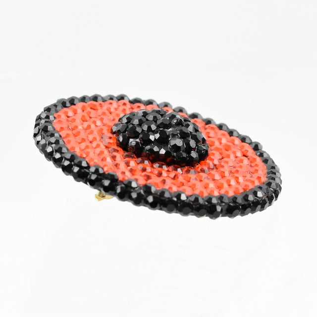 Richard Kerr Clip Earrings Black and Orange Jeweled Paved For Sale In Atlanta - Image 6 of 7