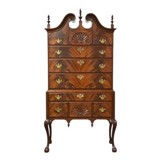 Chippendale Flamed Mahogany Full Bonnet Top Highboy For Sale