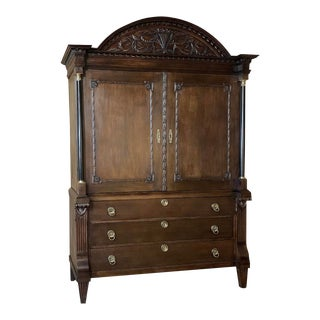18th Century Dutch Hand Carved Linen Press For Sale