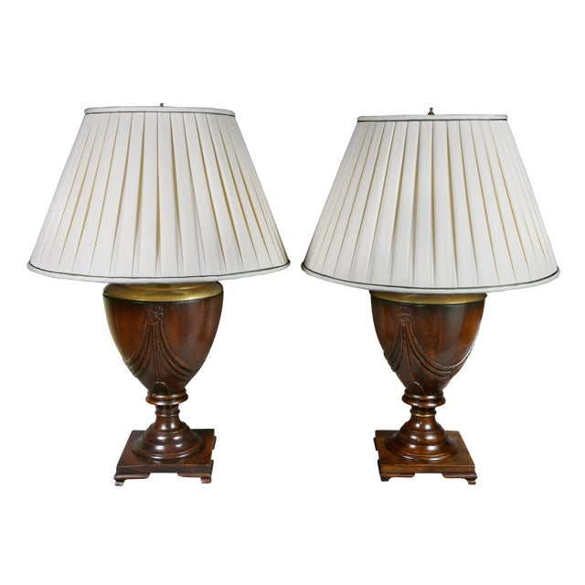 Georgian Style Mahogany Table Lamps - a Pair For Sale