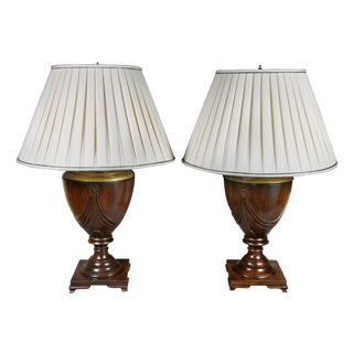 Pair of Georgian Style Mahogany Table Lamps For Sale