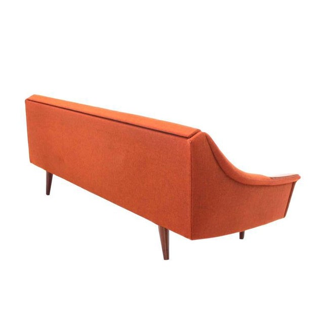 Red Mid Century Modern Danish Modern Convertible Brick Wool Upholstery Daybed Sofa For Sale - Image 8 of 10