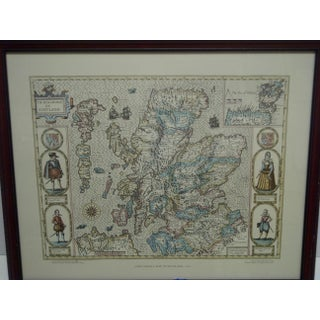 "1977 English ""John Speed's Map of Scotland - 1610"" Wood Framed Map Preview"
