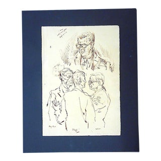 Original Vintage Mid 20th Century Drawing-D. Fredenthal-Listed American Artist For Sale