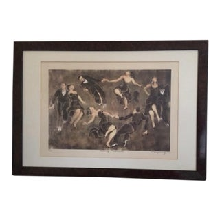 """Susan Dysinger Signed Limited Edition Etching, Monotype Original """"Savoy Dancers"""" For Sale"""