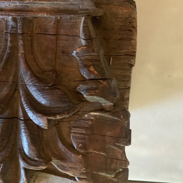 English Colonial Indian Carved Teak Column Base Architectural Element C 1890 For Sale In Denver - Image 6 of 13