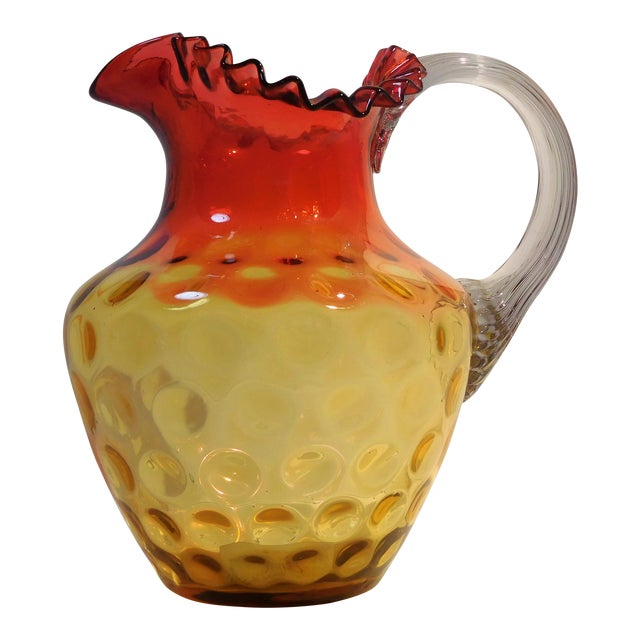 Antique Mt. Washington Glass Company Amber Rose Art Glass Pitcher, Circa 1880 For Sale