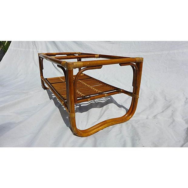 70's Albini Style Rattan Coffee Table With Glass For Sale - Image 5 of 8