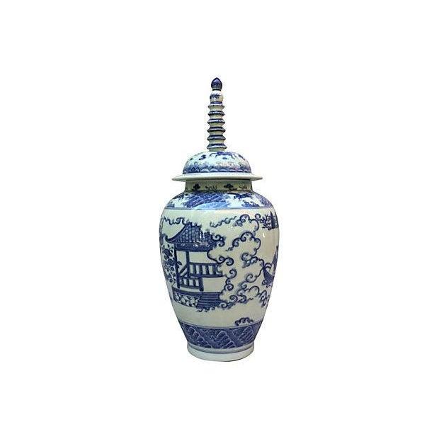 Blue & White Spiral Lid Ginger Jar - Image 2 of 7