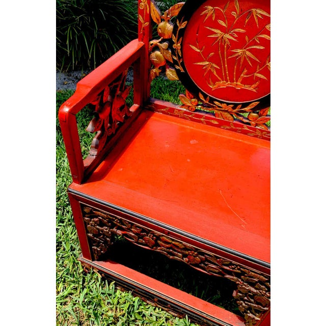 Chinese Red Lacquer and Gilt Throne Chairs - a Pair For Sale In West Palm - Image 6 of 13