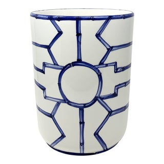 Italian Hand Painted Fretwork Wastebasket For Sale