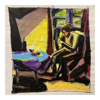 """Donald Stacy """"At the Table"""" C.1950s Gouache and Oil Pastel Mid Century Painting For Sale"""