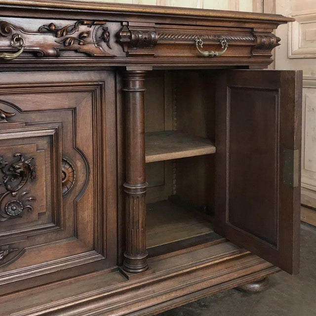 19th Century French Walnut Henri II Buffet For Sale - Image 11 of 13