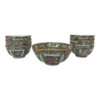 Early 20th Century Famille Rose Hand-Painted Bowls - Set of 9 For Sale
