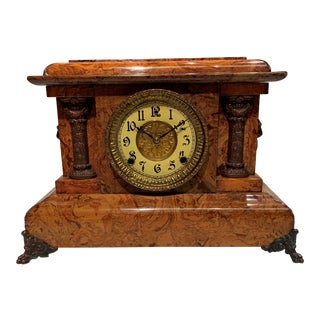 Pasargad American Faux Marble Mantel Clock For Sale