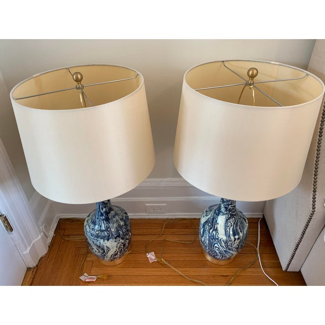 Ceramic Blue and White Table Lamps With Shades - a Pair For Sale - Image 7 of 8