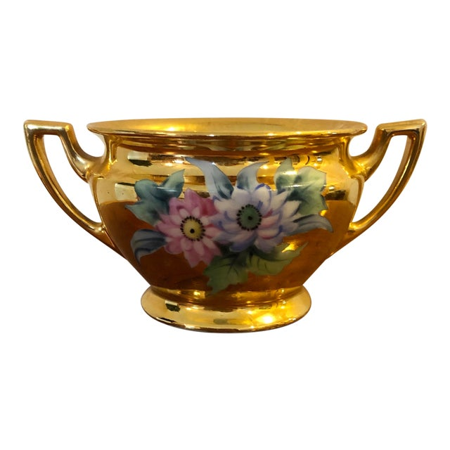 Final Price! Antique Gold Floral Noritake Sugar Bowl For Sale